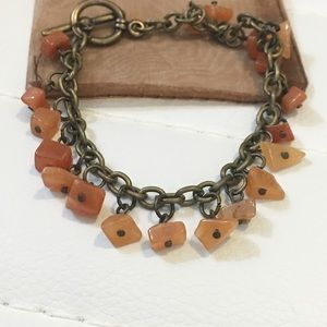 Jewelry - NWOT Orange Carnelian Gemstone Bohemian Bracelet